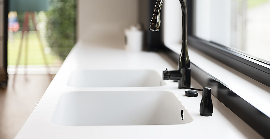 Mixa, the original solid surface kitchen sink.